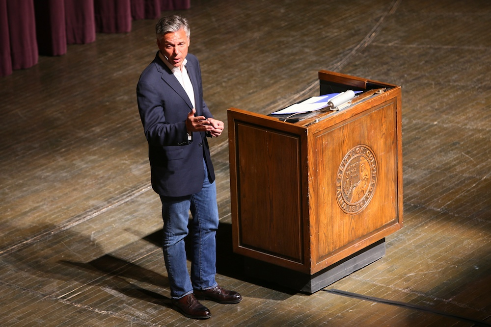 "Jon Huntsman Jr, the former Governor of Utah and US Ambassador to China, delivers a speech titled, ""China: Opportunities and Challenges"" at the final Distinguished Speakers Board event of the 2013/2014 school year. Huntsman is largely considered one of the most knowledgeable American politicians on Chinese-American affairs. Macky Auditorium, April 15, 2014. (Nigel Amstock/CU Independent)"