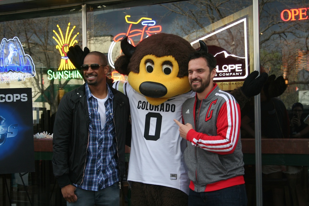 Damon Wayans Jr. and Jake Johnson pose for a picture with Chip, Wednesday, April  23, 2014, at Half Fast Subs in Boulder, Colo. (Allie Greenwood/CU Independent)