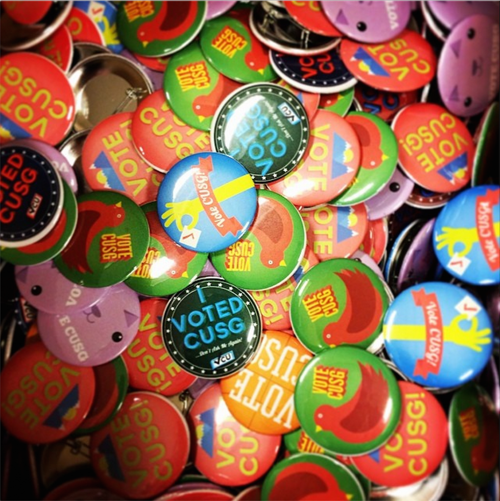 CU Student Government printed buttons for voters in this year's spring elections. (Photo courtesy Wyatt Ryder/CU Student Government)