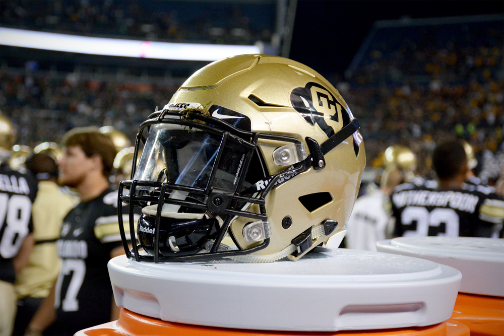 A Colorado football helmet during the 2014 Rocky Mountain Showdown at Sports Authority Field in Denver. (James Bradbury/CU Independent File)