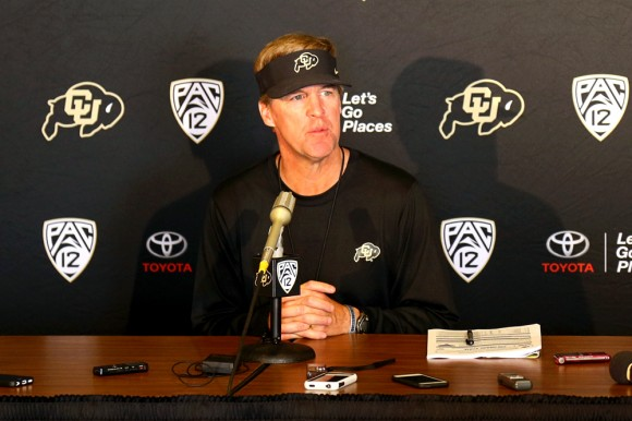 "Colorado Head Coach Mike MacIntyre speaks at the Tuesday press conference prior to the Rocky Mountain Showdown in Denver against CSU. Coach MacIntyre categorizes the upcoming game as ""a heck of a rivalry."" (Nigel Amstock/CU Independent)"