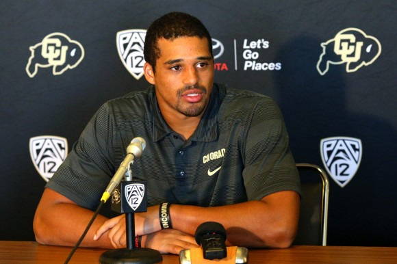 "Colorado Defensive Lineman Derek McCartney speaks at the Tuesday press conference prior to this Saturday's game against The University of Massachusetts. ""We're fired up,"" McCartney said. ""We're getting excited to go to UMass."" (Nigel Amstock/CU Independent)"