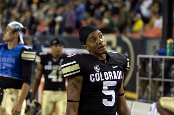 Freshman wide receiver Shay Fields looks up at the scoreboard late in the 4th quarter. Fields tied the CU record for catches in a debut game with 8. (Matt Sisneros/CU Independent)