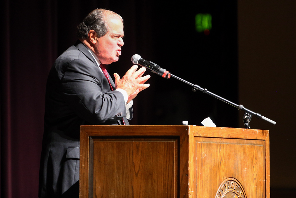 "Associate Supreme Court Justice Antonin Scalia speaks passionately in opposition to the concept of the the ""Living Constitution"" during the John Paul Stevens Lecture series, hosted by the CU Law School in Macky Auditorium on Wednesday. (Nigel Amstock/CU Independent)"