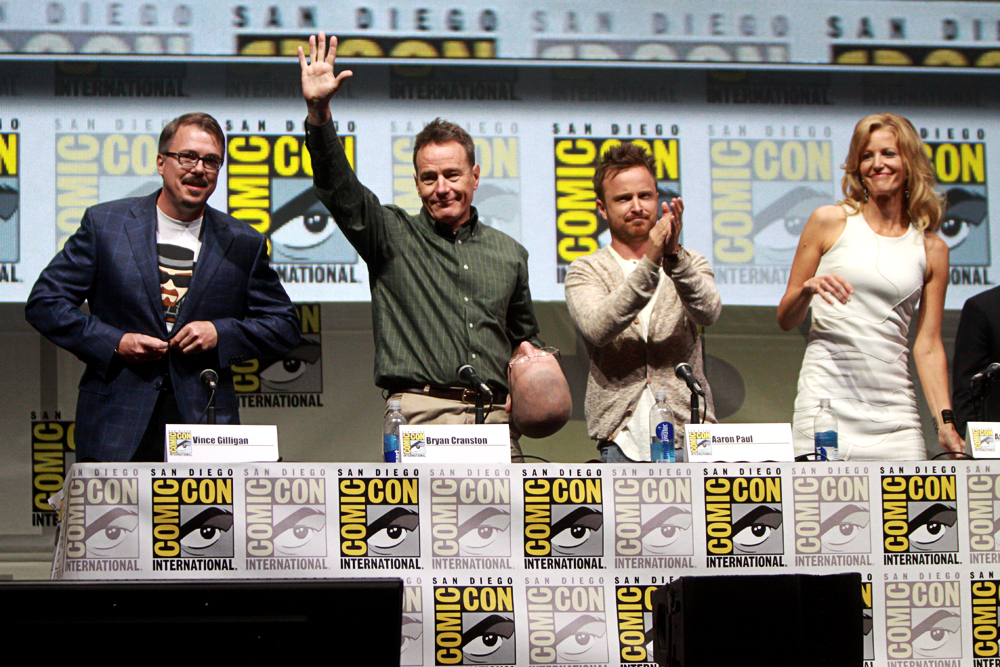 "From left to right, Vince Gilligan, Bryan Cranston, Aaron Paul and Anna Gunn speak at the 2013 San Diego Comic Con International for ""Breaking Bad,"" at the San Diego Convention Center in San Diego, Calif. (Photo Courtesy of Gage Skidmore/Wikimedia Commons)"