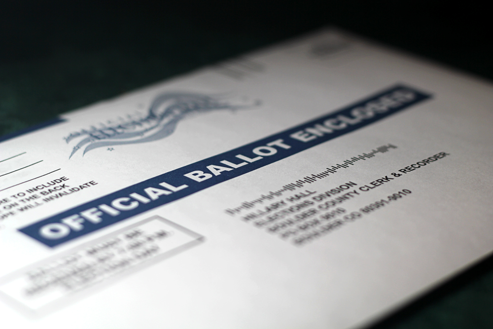 A mail-in ballot. (Kai Casey/CU Independent File)