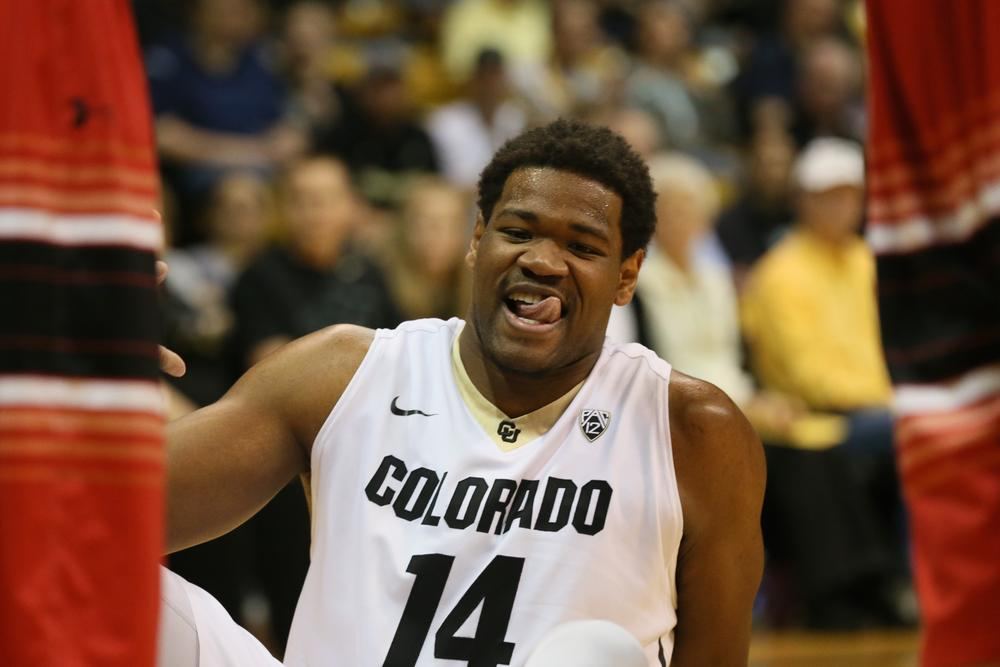 Forward Tory Miller licks his lips following a foul early in the first half of play at the Coors Event Center on March 18, 2015. (Nigel Amstock/CU Independent File)