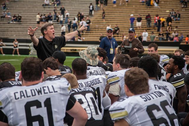 Head coach, Mike MacIntyre addresses both teams after last year's Spring Game on April 12, 2014. (Matt Sisneros/CU Independent)
