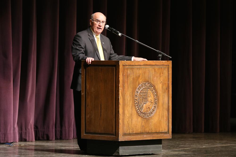 Chancellor Philip P. DiStefano delievers a speech prior to the 67th Conference on World Affairs keynote address by Leonard Pitts Jr. in Macky Auditorium. (Nigel Amstock/CU Independent)