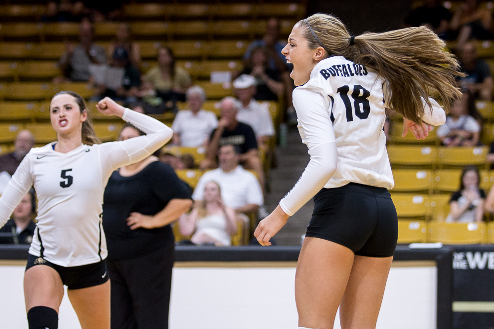 Freshman defensive specialist Gabby Carta-Samuels celebrates after a point against San Diego. Aug. 31 2015 (Matt Sisneros/CU Independent File)