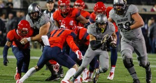 Sophomore Phillip Lindsay (TB) runs the ball against the Arizona Wildcats. on Oct 18 2015. The Buffaloes lost 38-31.  (Danny Anderson/CU Independent File)