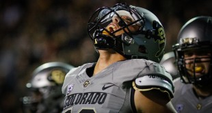 Then-junior Sefo Liufau (QB) reacts after scoring a touchdown against the Arizona Wildcats. Oct. 17, 2015. (Danny Anderson/CU Independent File)