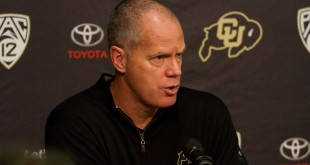 Tad Boyle, head coach for Men's Basketball at The University of Colorado at Boulder, speaks of the upcoming season at a press confrence on October 21st, 2015. Coors Event Center. (Will McKay/CU Independent)