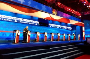 The debate stage at Coors Events Center. (Photo courtesy of Glenn Asakawa)