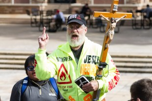 A Christian extremist speaks to a group of students outside of the UMC on October 28th, 2015. (Will McKay/CU Independent)
