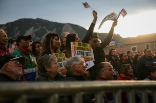 The immigration rally on Farrand Field drew a few hundred people Wednesday night before the GOP debate in Boulder. (Danny Anderson/CU Independent)