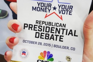 Press credential from the debate on Oct. 28, 2015. (Paola Fernandez-Grados /CU Independent)