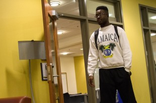 A CU student outside of the conference room after attending Tuesday night's Black Student Alliance (BSA) meeting. (Danny Anderson/CU Independent)