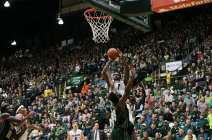 Junior forward Wesley Gordon attempts a jump shot during the second half of play at Moby Arena. Dec. 6, 2015 (Nigel Amstock/CU Independent File)