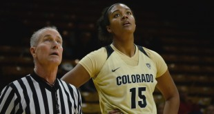 The Official and Zoe Correal (15) watch a free-throw ball at the USC vs. Colorado game at the Coors Event Center. Jan 31, 2016. (Brianna Bradley/CU Independent)