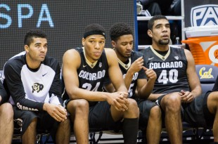 The Buffs bench looks distraught after going down 15 in the second half. CU fell to Cal 79-65 on Jan. 1, 2016  (Matt Sisneros/CU Independent File)