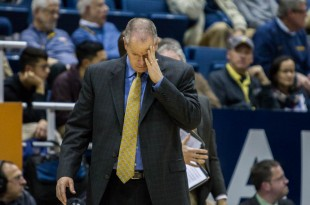 Tad Boyle looks down, frustrated after calling a timeout. CU fell to Cal 79-65 on Jan. 1 2016  (Matt Sisneros/CU Independent File)