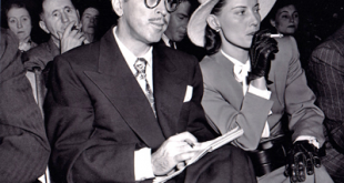 Colorado screenwriter, Communist sympathizer and free speech advocate Dalton Trumbo with wife Cleo at The House Representatives Un-American Activities Committee hearings, 1947. (Wikimedia Commons)