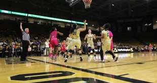 Referee calls the shot made by Utah, as the Buffs get ready to grab the rebound. Feb 7, 2016 (Emma Pion-Berlin CU Independent)