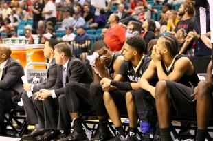 The Buff bench during the waning seconds of play at the MGM Garden Arena March 10, 2016. (Nigel Amstock/CU Independent File)