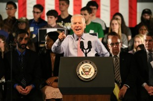 Vice President Joe Biden delivers remarks on preventing sexual assault during the 'It's On Us' rally at the University of Colorado Rec Center on April 8, 2016. (Nigel Amstock/CU Independent)