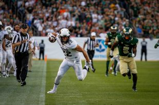 Nelson Spruce (22) hustles down the field against Colorado State University in the 2015 Rocky Mountain Showdown. The University of Colorado won 27-24. (Danny Anderson/CU Independent)