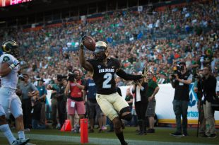 Freshman Ronnie Blackmon scores a touchdown during the Buffs' 44-7 win over the CSU Rams during the Rocky Mountain Showdown at Mile High on Sept. 2, 2016. (Robert Hylton/CU Independent)