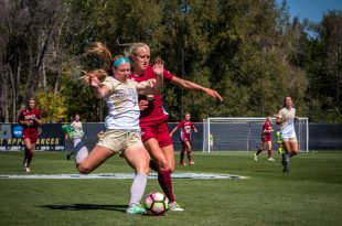 Senior forward Danica Evans shoots the ball toward the net during the Buffs' 1-0 win over the Denver University Pioneers at Prentup Field on Saturday, Sept. 17, 2016. (Robert Hylton/CU Independent File)