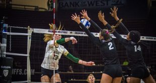 Junior hitter Stephanie Shadley (left), and sophomore blocker Naghede Abu (right), block the ball during the Buffs' 3-1 win over the CSU Rams at Coors Events Center Saturday, Sept. 17, 2016. (Robert Hylton/CU Independent)