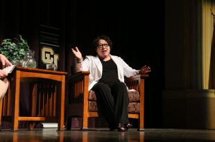 U.S. Supreme Court Justice Sonia Sotomayor addresses the annual John Paul Stevens Lecture in Macky Auditorium on Sept. 2, 2016. (Nigel Amstock/CU Independent)