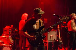 Mac DeMarco playing bass at the Fox Theatre in Boulder, Colorado Sept. 1, 2016. (Gabriel Kelly/CU Independent)