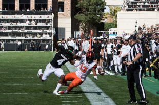 CU's defense stops a pass from being completed against the Oregon State Beavers at Folsom Field on Saturday, Oct. 1, 2016. (Jackson Barnett/CU Independent)
