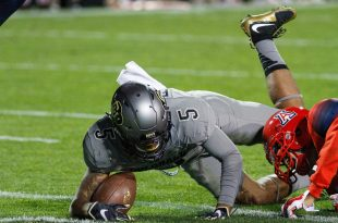 Sophomore wide receiver Shay Fields dives into the end zone but is ruled down at the 1-yard line against the Arizona Wildcats. (Maddie Toretto/CU Independent)