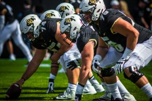 The CU offense lines up during Buffs' 47-6 win over the Oregon State Beavers at Folsom Field Saturday, Oct. 1, 2016. (Robert Hylton/CU Independent)