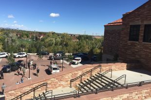 Police on scene at the Champions Center on the CU-Boulder campus to apprehend a man armed with a machete on Wednesday, Oct. 6, 2016. (Jake Mauff/CU Independent)