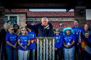 Bernie Sanders speaks at a rally in support of Colorado amendment 69 at Farrand Field on Oct. 17, 2016. (Robert Hylton/CU Independent)