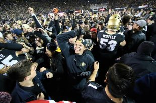 Buffs fans celebrates CU's 27-22 victory over the Utah Utes and the Pac-12 South divisional championship win at Folsom Field. Nov. 26, 2016. (Nigel Amstock/CU Independent)
