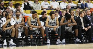 The Colorado bench displays a somber look during the waning seconds of the Buffs' 72-58 loss to the Colorado State Rams. Nov. 30, 2016. (Nigel Amstock/CU Independent)