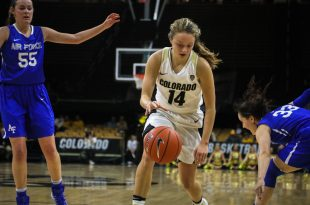 Sophomore guard Kennedy Leonard dribbles toward the net during the Buff's 95-68 win over the Air Force Academy at the Coors Events Center on Nov. 12, 2016. (Robert Hytlon/CU Independent File)