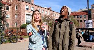 Girl on Girl columnist Dani Pinkus interviews CU students on Election Day. (Robert Hylton/CU Independent)