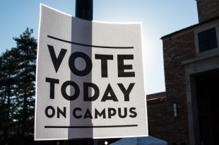 A sign tells students to vote on campus. (Jackson Barnett/CU Indpendent)