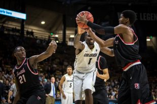 Senior forward Wesley Gordon battles for a rebound during the Buffs' 67-55 win over the Seattle University Redhawks at Coors Events Center Monday, Nov. 14, 2016. (Robert Hylton/CU Independent)