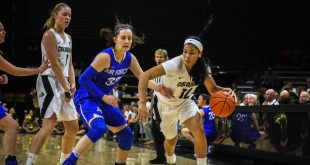 Sophomore guard Ariana Freeman dribbles toward the basket during the Buffs' 95-68 win over Air Force at the Coors Events Center on Nov. 12, 2016. (Robert Hytlon/CU Independent File)