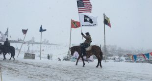 A veteran rides horseback in the Oceti Sakowi camp on Dec. 5th. (Photo courtesy of Charles McGuire-Wien)