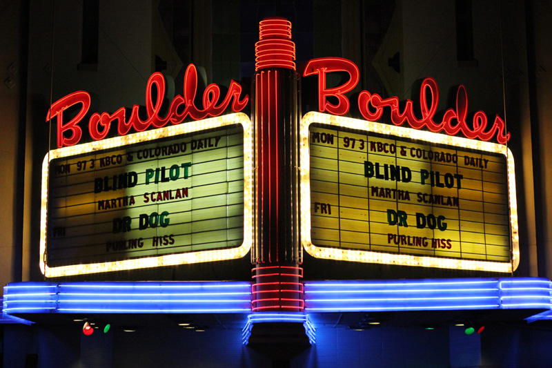 The sign at the Boulder Theater lights up the Blind Pilot concert on Monday, Jan. 30. (Kai Casey/CU Independent File)